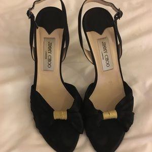 Jimmy Choo black satin heeled shoes